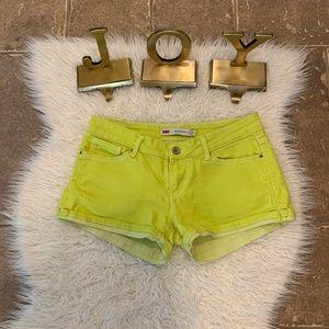 Levi's Neon Green Shorty Short Jean Shorts